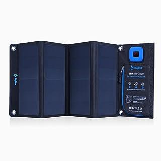 BigBlue 28W Cargador Solar Portátil 2 puertos USB 4 Paneles solares impermeables con amperímetro digital y Zip para la protección - para dispositivos USB recargables - iPhone Android GoPro Etc (28W)