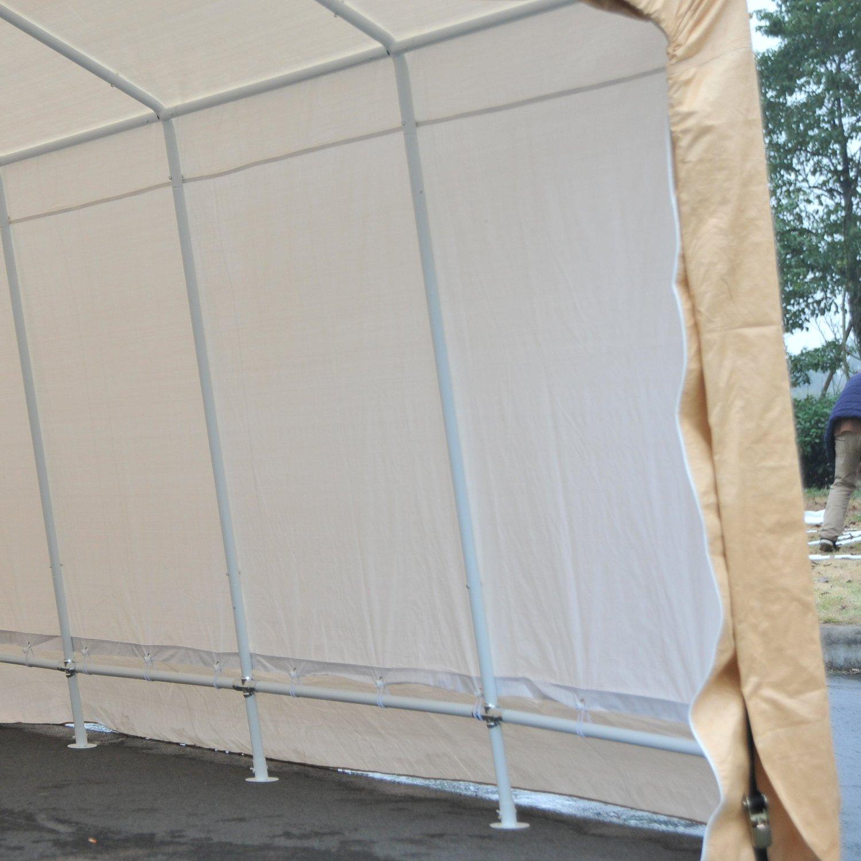 Festnight Heavy Duty Enclosed Carport Vehicle Shelter Beige 17' x 10.5'