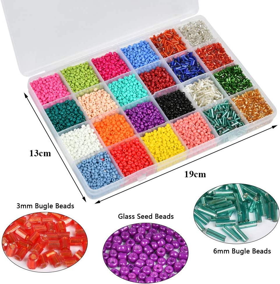 BUYGOO Beads Kit 11200pcs Glass Seed Beads 3mm Beads and 2800pcs Glass Bugle Seed Beads for Name Bracelets Jewelry Making and Crafts with Elastic String Cords,Scissors,Tweezers and Storage Box