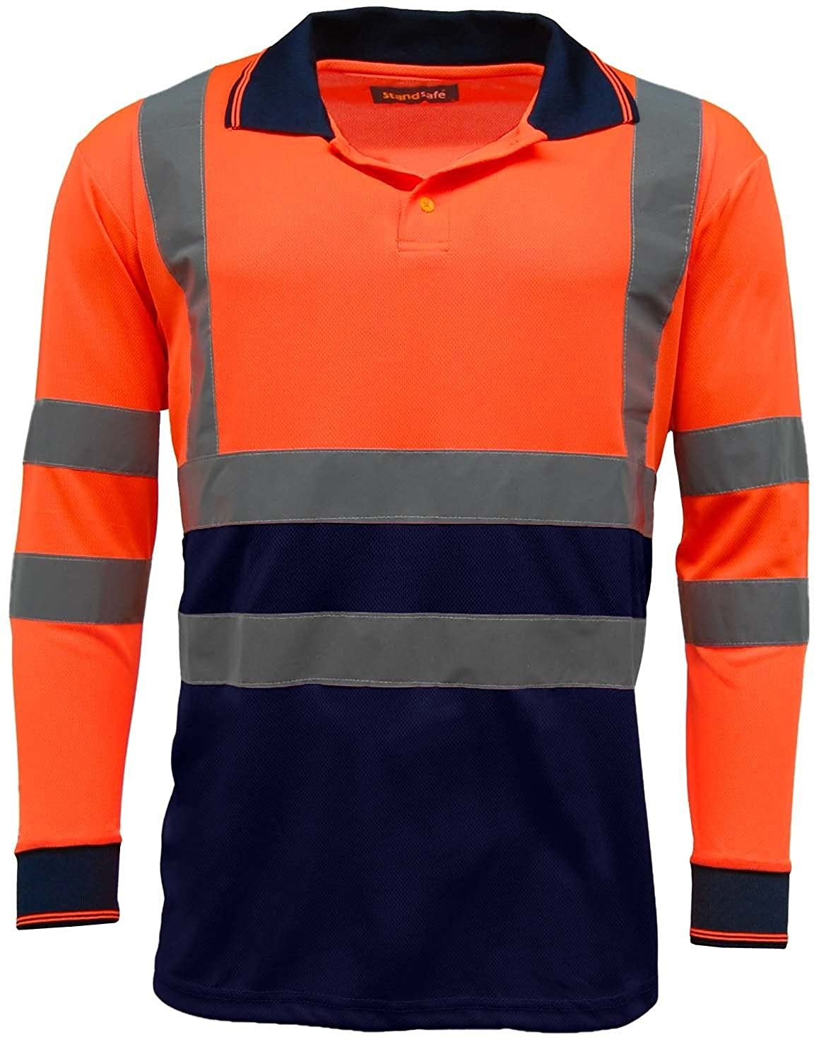 Mens Hi Vis Hi Visibility Two Tone Safety Work Polo Shirt Long