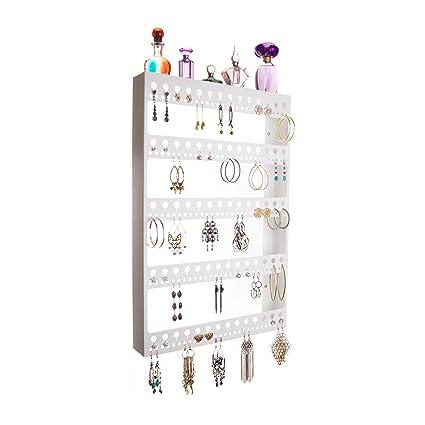 Earring Holder For Long Earrings Jewelry Organizer Hanging Closet Storage  Rack With Shelf, Nichole White