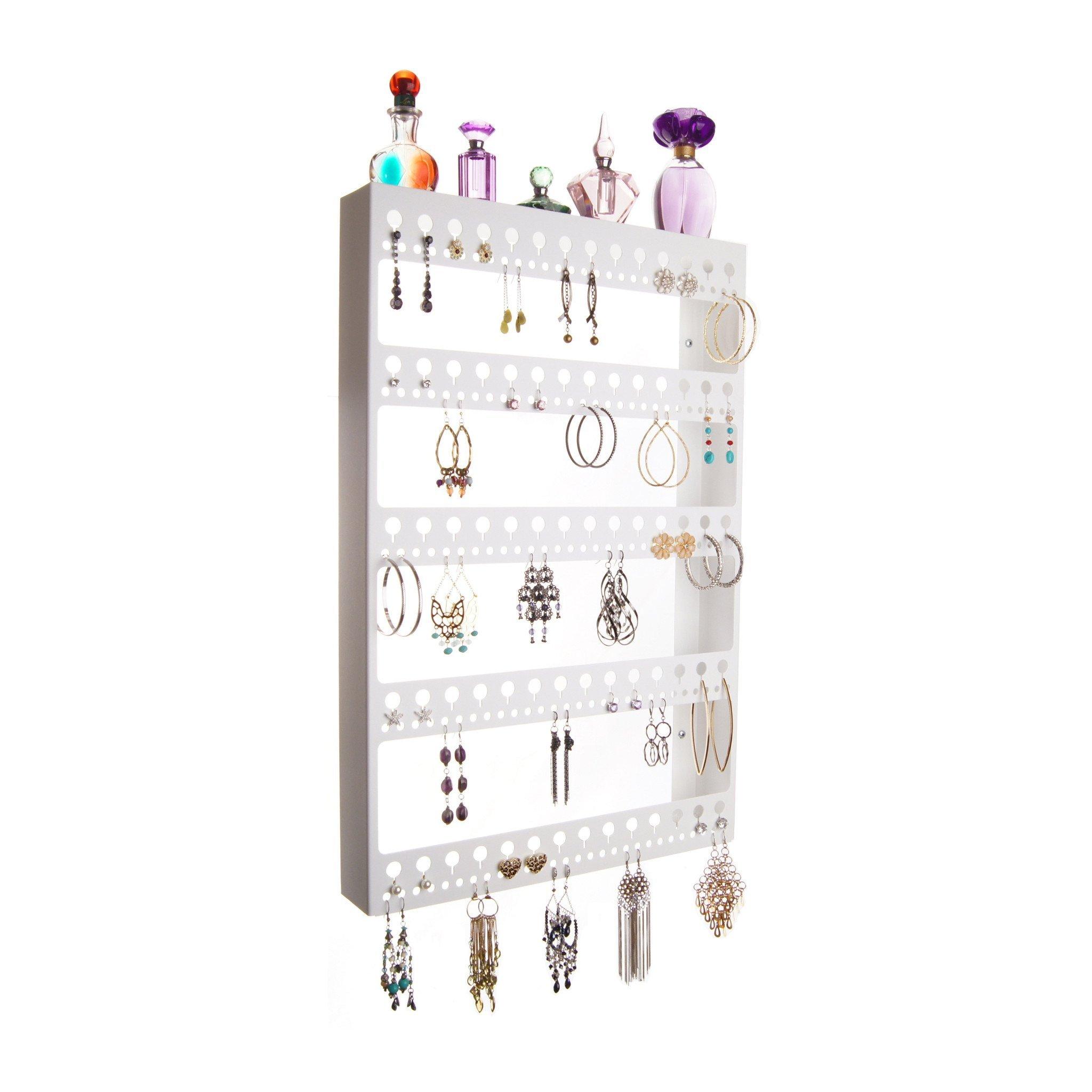 Earring Holder Organizer Wall Mount Jewelry Organizer Hanging Closet Storage Rack with Shelf, Nichole White by Angelynn's Jewelry Organizers (Image #1)