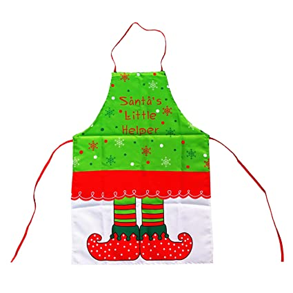 Sasairy Christmas Apron Cooking Kitchen Printed Dress Chef Aprons Xmas Funny Gift For Adult Women Girls