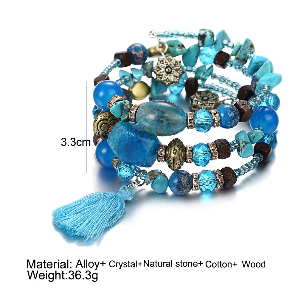 Women's Retro Mixed Healing Gemstone Beads Stretch Agate Stone Bracelet Chakra Multi-Layer Winding Hand Chain String Bracelet MINGHUA