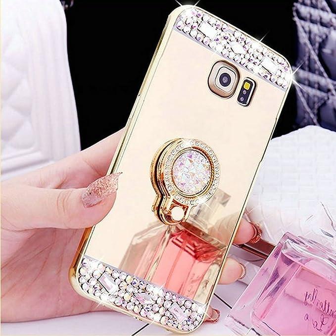 b43ccb0ab77 COTDINFOR Samsung S7 Edge Funda de Espejo Lindo para niñas Case de Cristal  Brillante Bling Diamond Glitter TPU Protectora con Soporte de Anillo para  Samsung ...