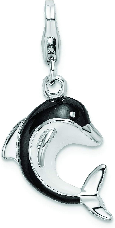 Amore La Vita Sterling Silver 3-D Enameled Unicorn Head Click-On Lobster Clasp Charm Pendant