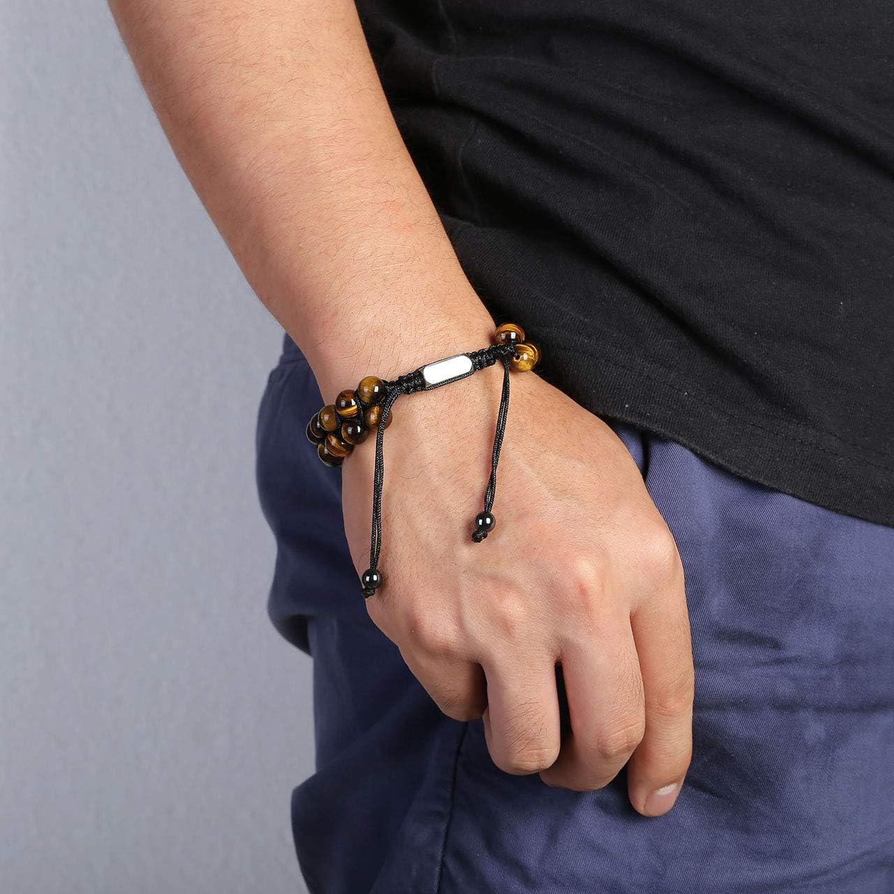 Jovivi Bracelet Tress/é en Pierre Oeil de Tigre Jaune avec Rectangle Gravure Personnalis/ée