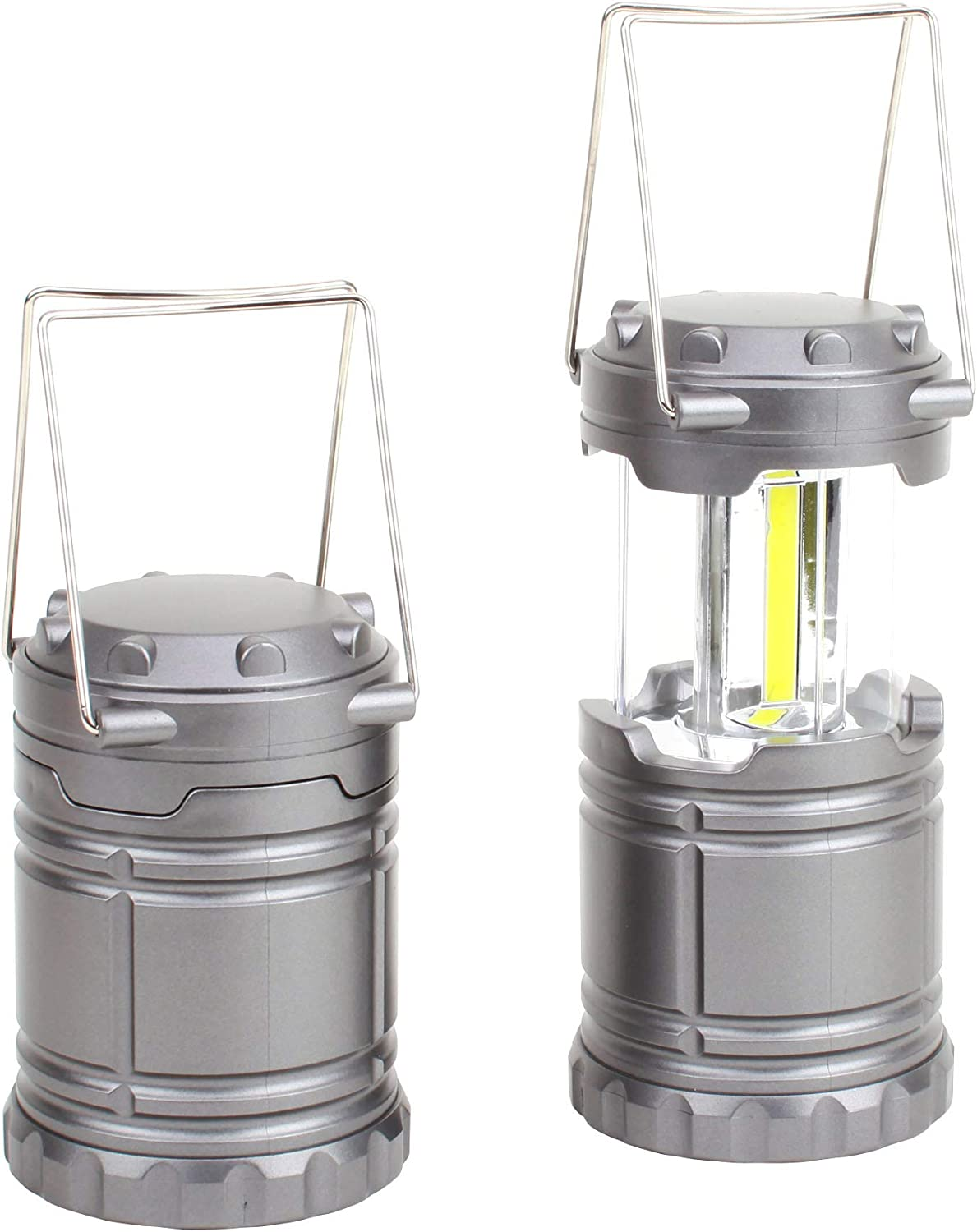 FASTPRO 2 Pack Outdoor LED Camping Lantern Set, Super Bright COB Strip LED, Portable and Collapsible Lanterns, Perfect for Camping, BBQ, Tent light, Workshops, Emergencies, Outages, Batteries Included