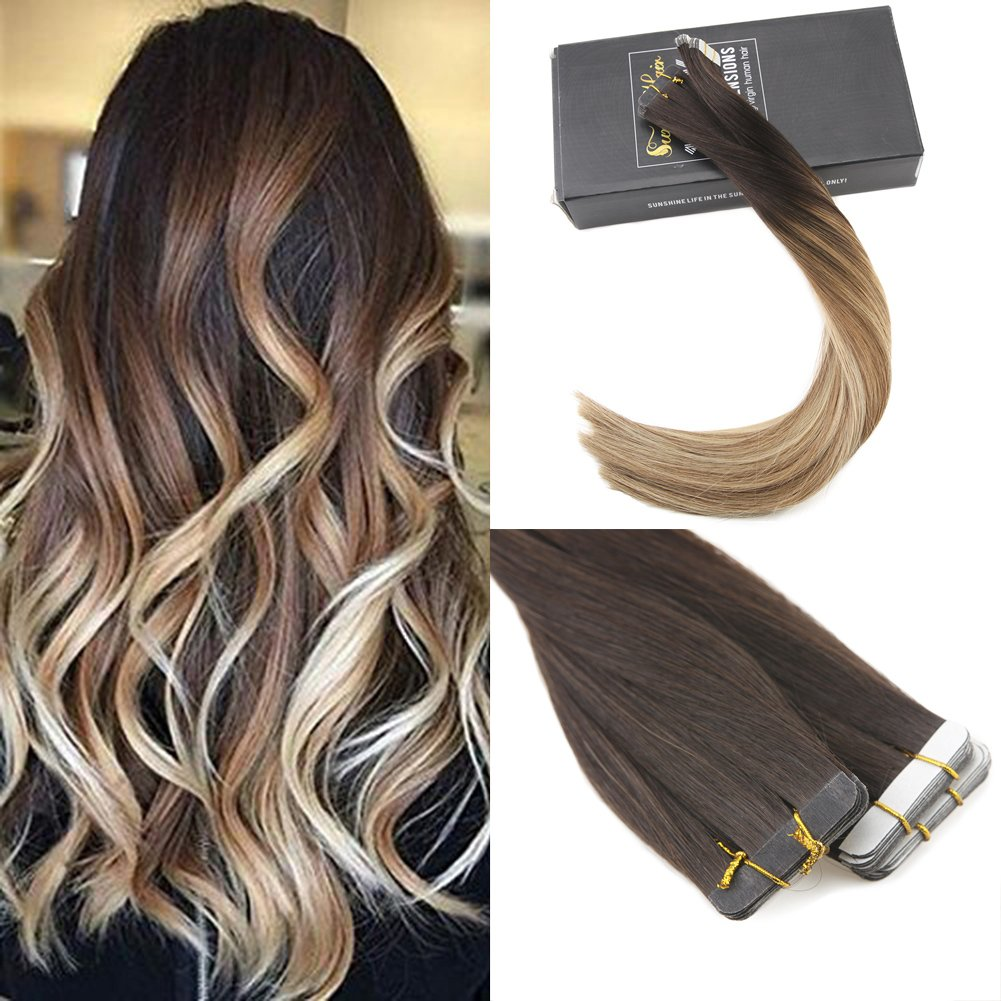 Amazon Sunny Ombre Tape In Hair Extensions Human Hair Dark
