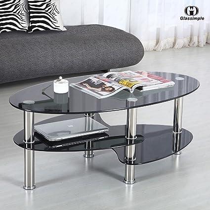 Amazon Com Black Glass Oval Side Coffee Table Shelf Chrome Base