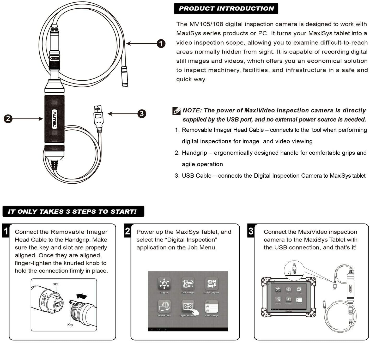 MaxiVideo MV108 Inspection Endoscope Video Scope for Autel MS906TS//MS906BT//MS908P