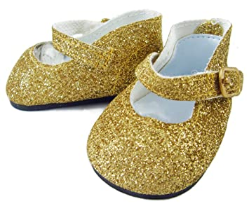d4ece6a2b17f Buy Glitter Gold Shoes Made to fit 18