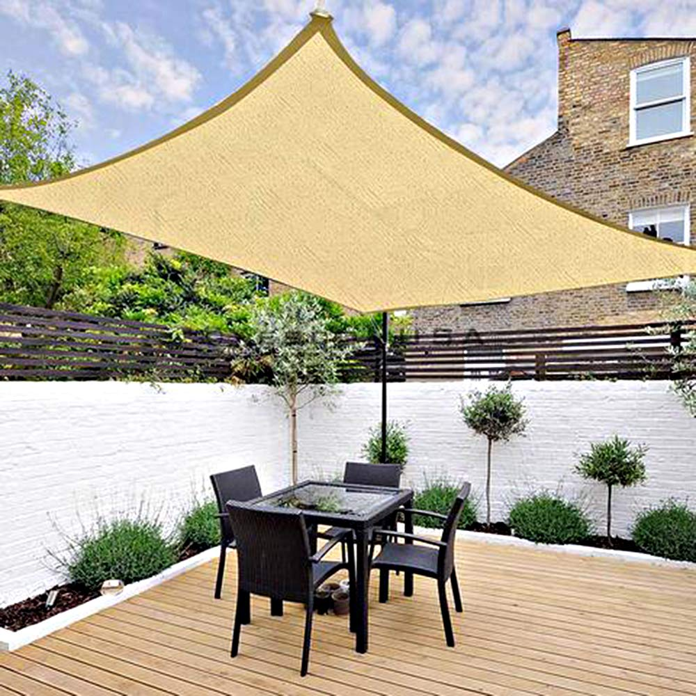 Chihee Shade sail UV Block 5X3m Rectangle Sun Shade Canopy 180GSM HDPE Anti-mildew Sunscreen Awning with 2m Free Rope For Outdoor Garden Patio Swimming Pool Barbeque Areas