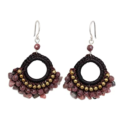 593169c8e Image Unavailable. Image not available for. Color: NOVICA Rhodonite and Brass  Beaded Chandelier Earrings with Sterling Silver Hooks, Rose Lanna'