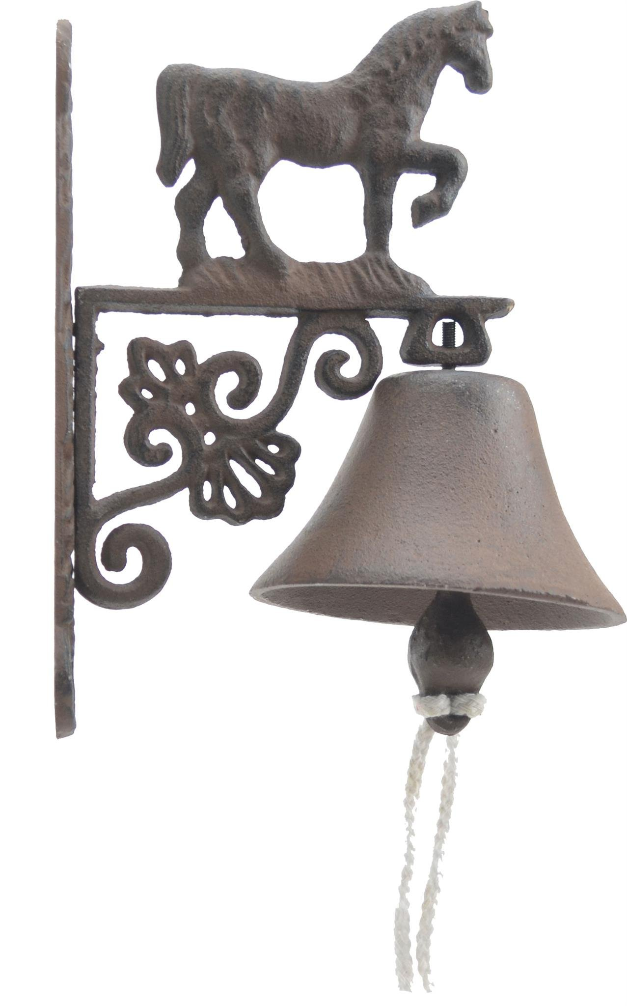 Import Wholesales Cast Iron Dinner Bell Walking Horse Distressed Brown