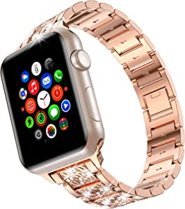 wootfairy for Apple Watch Band 42mm 44mm SE Series 6 Series 5 4 3 2 1 , Bling Replacement Bracelet iWatch Band, Diamond Rhinestone Stainless Steel Metal Wristband Strap Champagne Gold, 42mm/44mm