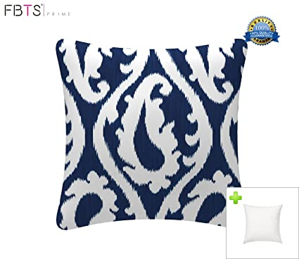 Awesome FBTS Prime Outdoor Decorative Pillows With Insert Navy Patio Accent Pillows  Throw Covers 18x18 Inches Square