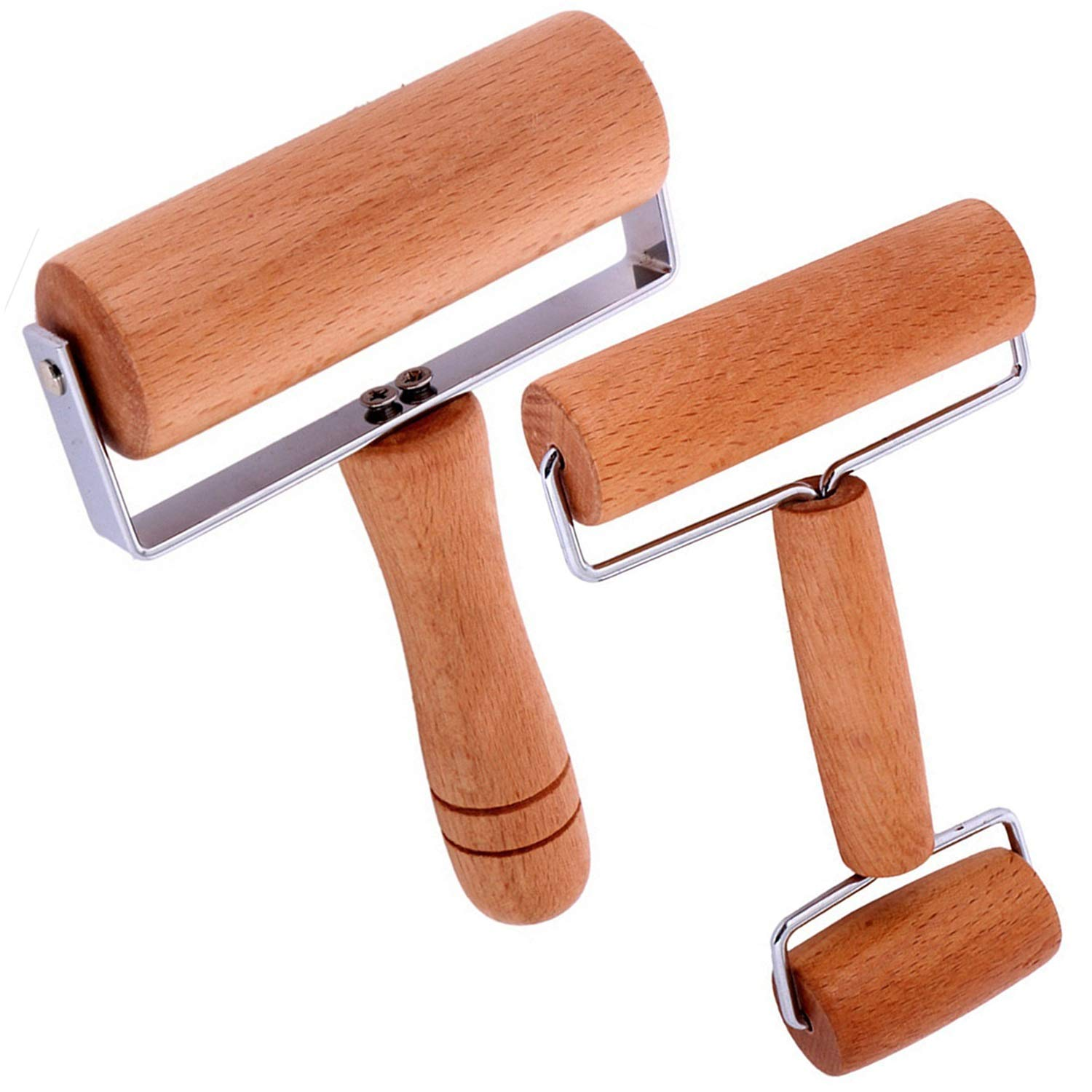 2 Pcs Wooden Pastry Pizza Roller Pin,Non Stick Rolling Pin for Baking Sold by Lasten