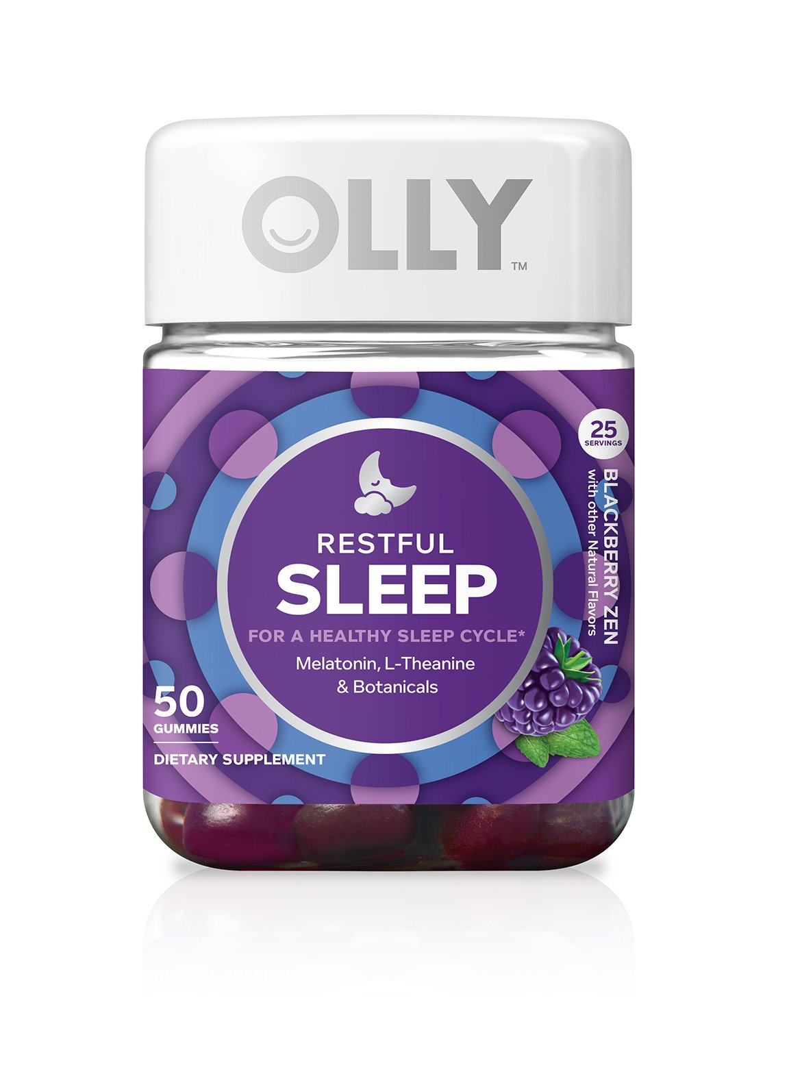OLLY Restful Sleep Gummy Supplements, Blackberry Zen (Packaging May Vary), 50 Count