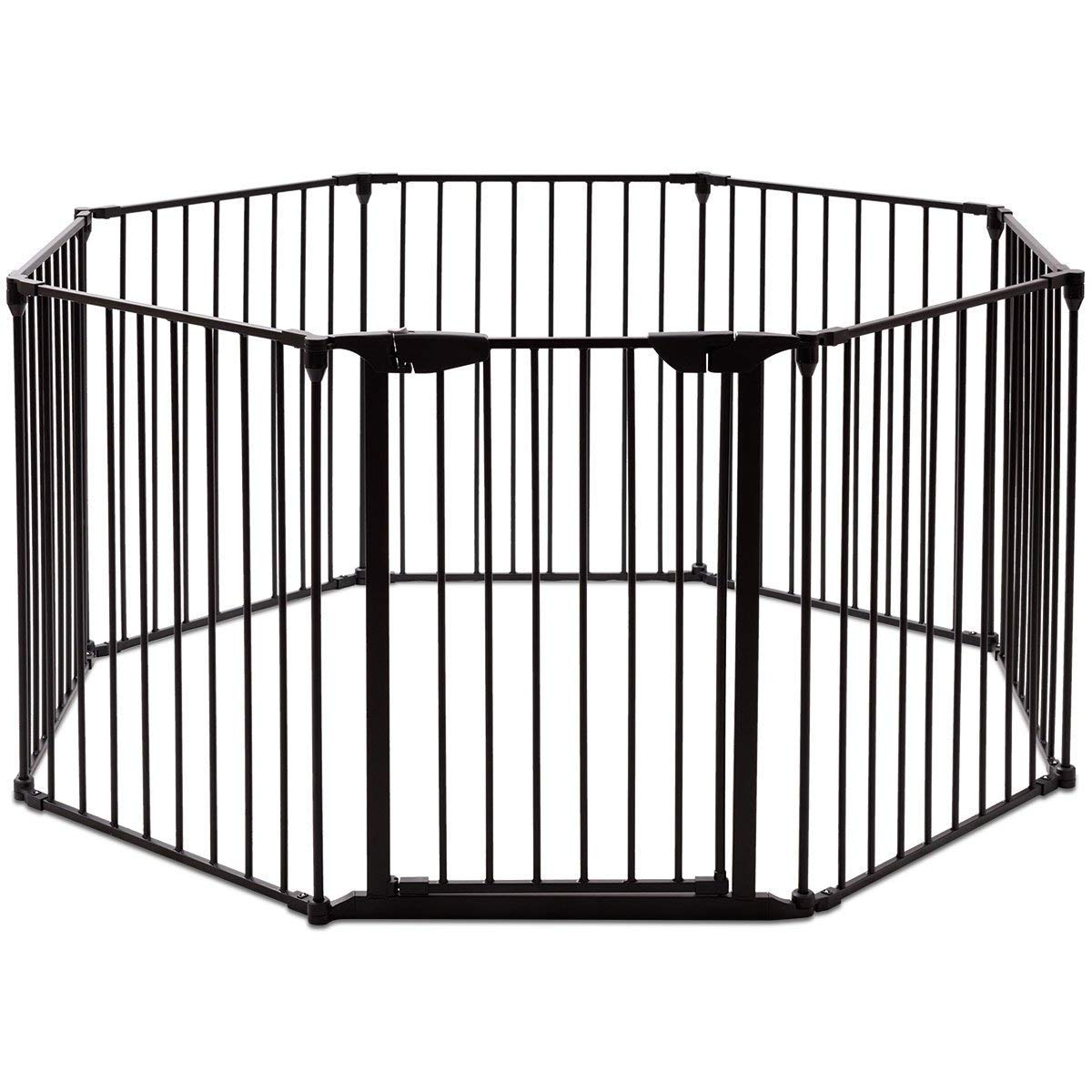 Costzon Baby Safety Gate, 4-in-1 Fireplace Fence, 204-Inch Wide Barrier with Walk-Through Door in Two Directions, Add Decrease Panels Directly, Wall-Mount Metal Gate for Pet Child Black, 8-Panel