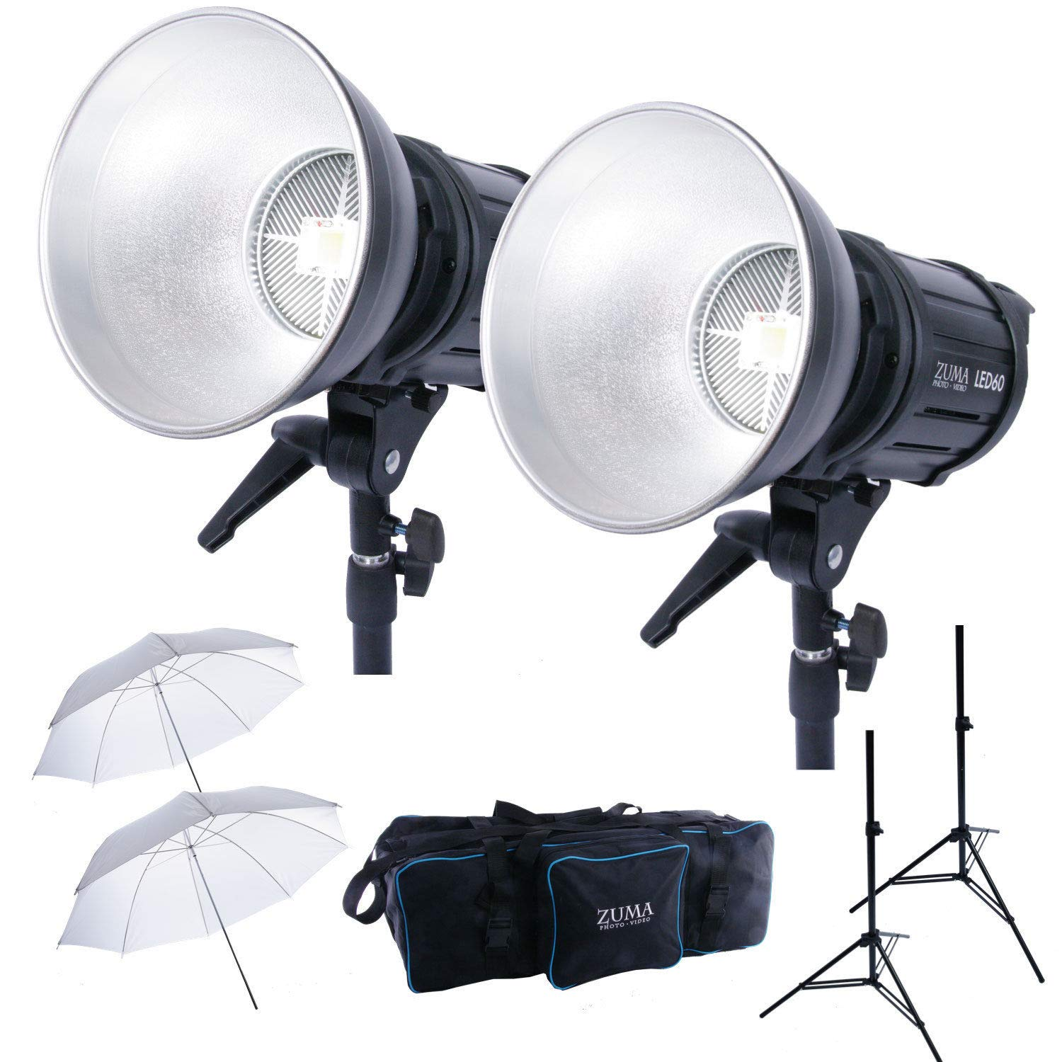 LED 60W Photo Video Studio Lighting Kit w/Umbrellas Stands Carry Case Dimmer by Zuma