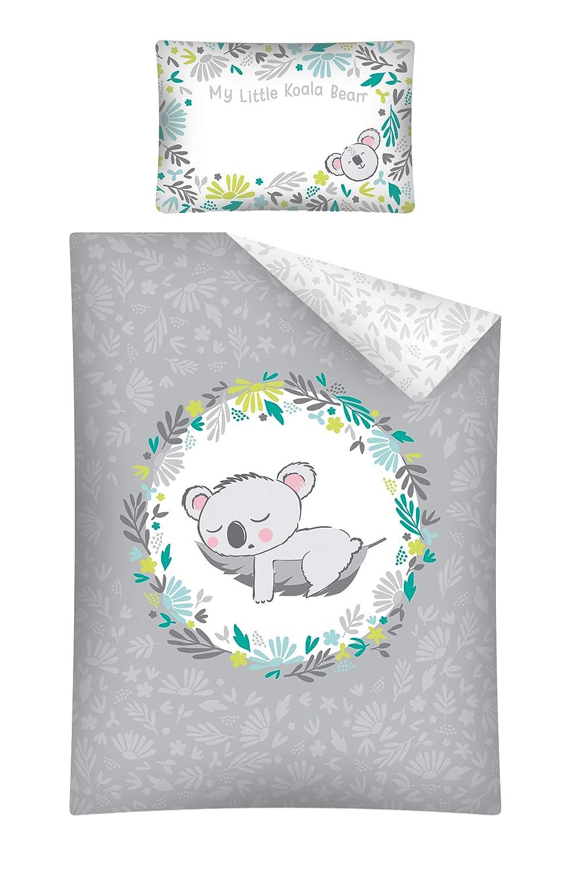 40 x 60 cm Tama/ño: 100 x 135 cm certificado /ÖkoTex Standard 100 Talla:100x135 cm Juego de ropa de cama para beb/é Elefante azul y verde 40x60 cm 2 piezas 100/% algod/ón