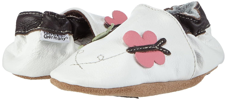 HOBEA-Germany Lauflernschuhe Schmetterlinge - Pantuflas para bebés, color weiß, talla 22/23 (18-24 Mon.)