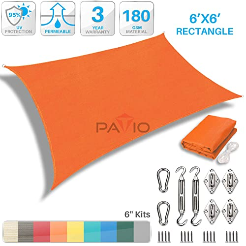 Patio Paradise 6 x 6 Sun Shade Sail with 6 inch Hardware Kit, Orange Square Canopy Durable Shade Fabric Outdoor UV Shelter Cover – 3 Year Warranty – Custom