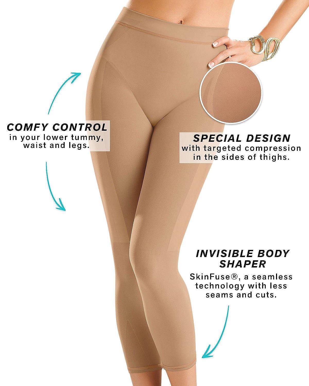 b793083d9c Amazon.com  Leonisa Invisible High Waisted Super Comfy Compression Tummy  Control Slimming Capri Shaper Leggings  Clothing