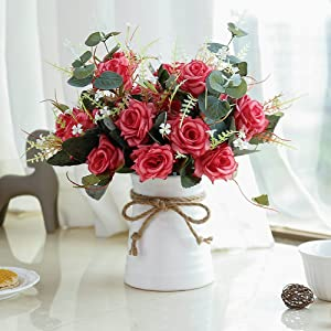 YILIYAJIA Artificial Rose Bouquets with Ceramics Vase Fake Silk Rose Flowers Decoration for Table Home Office Wedding (red)