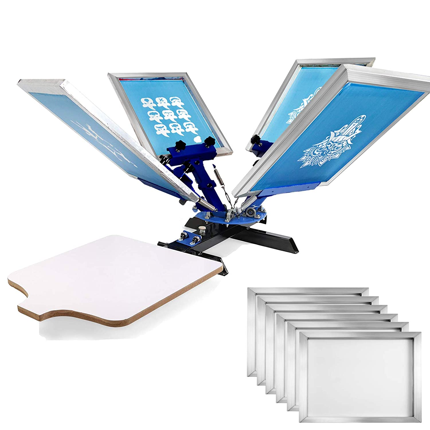 VEVOR Screen Printing 4 Color 2 Station Screen Printing Machine and 6 Pieces 20x24 Inch Aluminum Screen Frame with White 110 Count Mesh