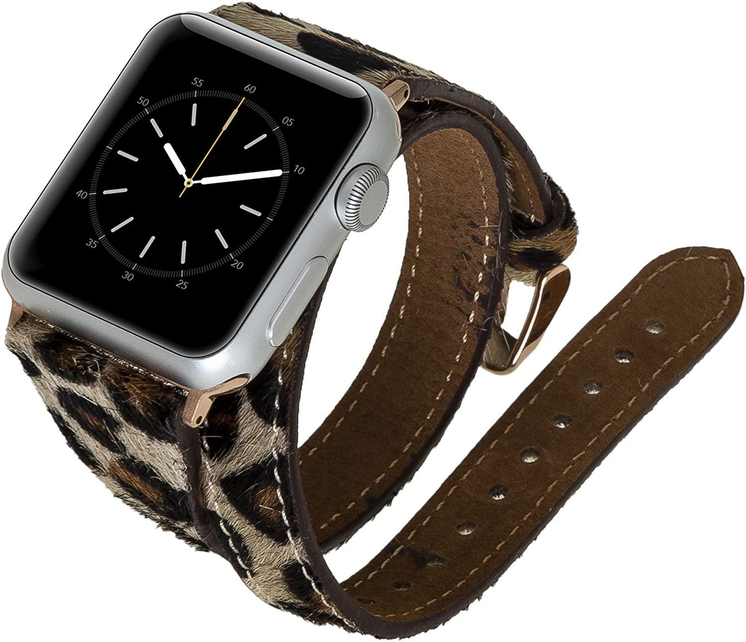 Venito Serena Slim Double Wrap Leather Watch Band Compatible with The Newest Apple Watch iwatch Series 6 as Well as Series 1,2,3,4,5 (Furry Leopard w/Rose Gold Stainless Steel Hardware, 38mm-40mm)