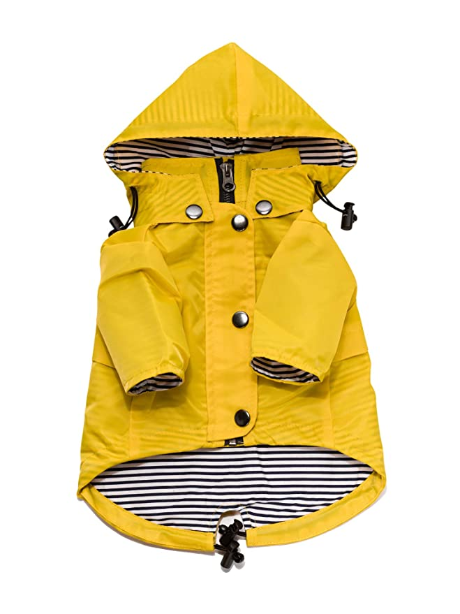 Yellow Zip Up Dog Raincoat with Reflective Buttons, Pockets, Rain/Water Resistant, Adjustable Drawstring, Removable Hood - Size XS to XXL Available - Stylish Premium Dog Raincoats by Ellie (XS) best dog raincoat