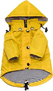 Ellie Dog Wear Yellow Zip Up Dog Raincoat with Reflective Buttons, Pockets, Rain/Water Resistant, Adjustable Drawstring, Removable Hood - Size XXS to XXL - Stylish Premium Dog Raincoats