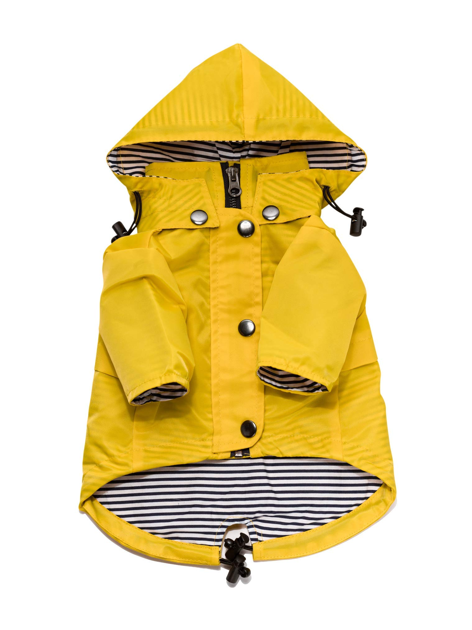 Yellow Zip Up Dog Raincoat with Reflective Buttons, Pockets, Rain/Water Resistant, Adjustable Drawstring, Removable Hood - Size XS to XXL Available - Stylish Premium Dog Raincoats by Ellie (L)