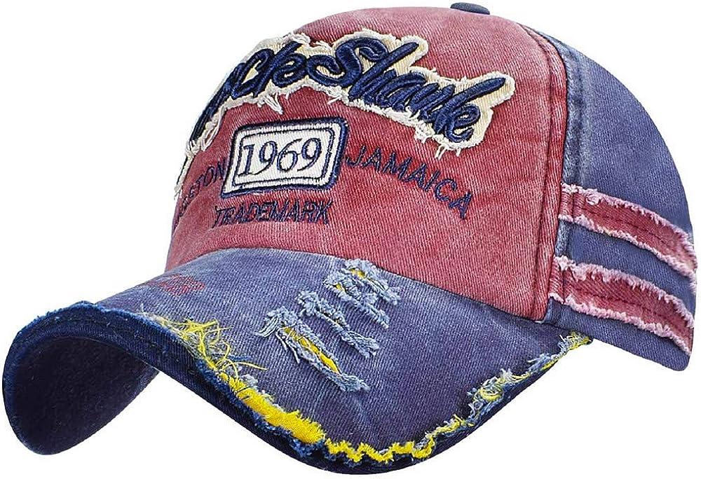 Voqeen Vintage Baseball Cap 1969 Visor Mens Baseball Cap Cotton Unisex Baseball Cap Motorcycle Cap Edge Grinding Do Old Hat