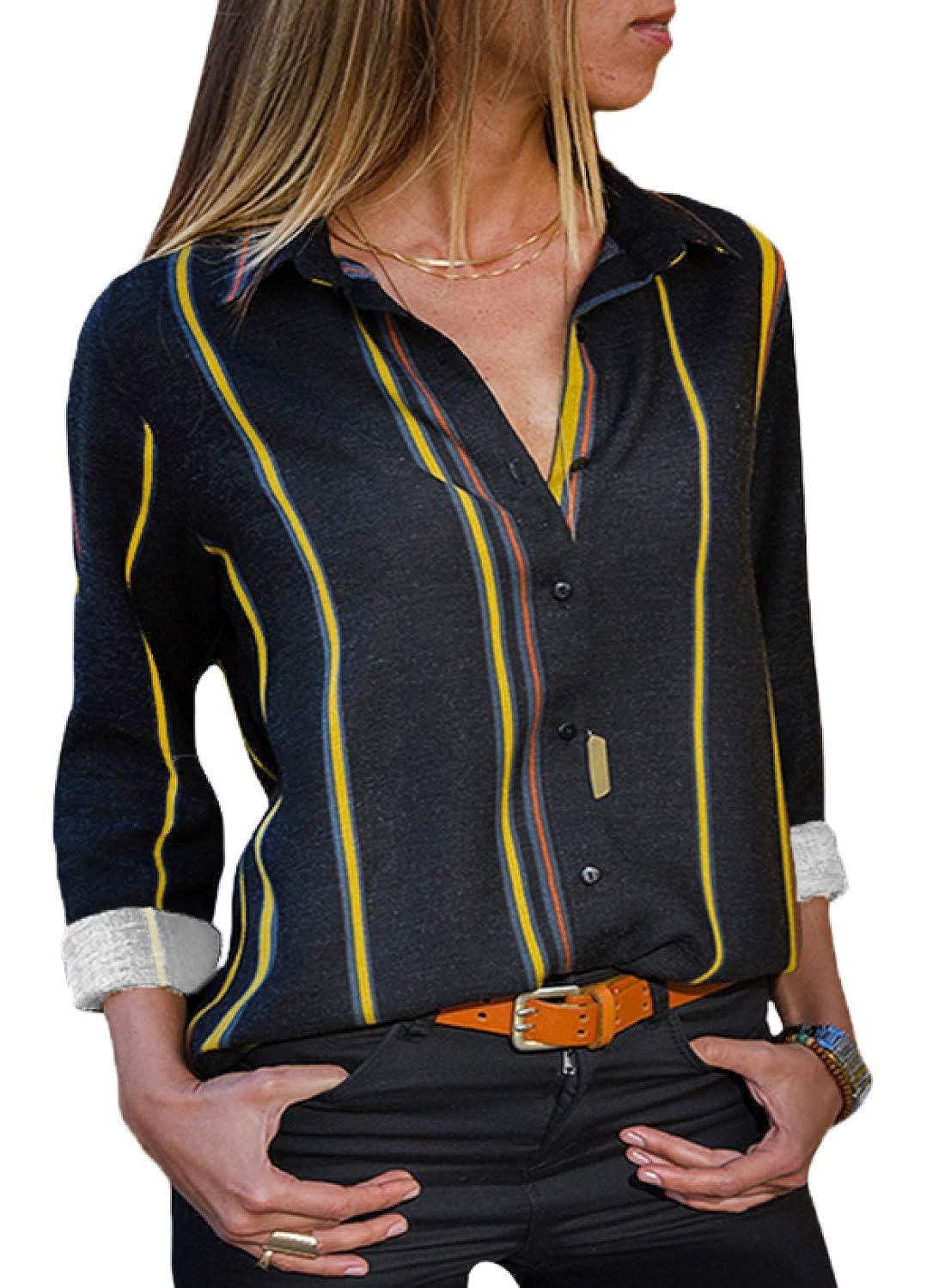 BLENCOT Camicia Scollo a V Blusa con Manica Lunga a Strisce T-Shirt Button-Down