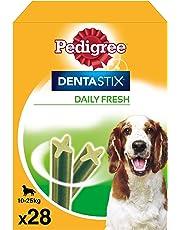 Pack de 28 Dentastix Fresh de uso diario para higiene oral y contra mal aliento para perros medianos    [Pack de 4]