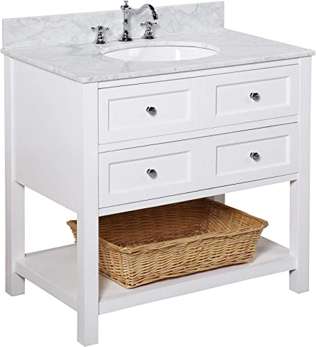 New Yorker 36-inch Bathroom Vanity Carrara/White : Includes White Cabinet