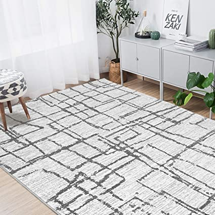 . MAYSHINE Geometric Modern Simple Casual Area Rugs  Black and Gray 8  x 10    for Living Room Bedroom Carpet Contemporary Retro Polyester Textured Easy