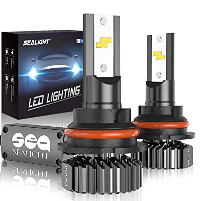 SEALIGHT 9004 HB1 Led Headlight Bulbs Hi/Lo Beam Plug and Play, 24xCSP Chips LED Headlight Kit - 6500lm 6000K White: Automotive