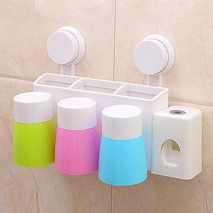 Cuarto de baño estante estantería de baño Squeeze pared cepillo de dientes titular Familia Pack Trajes