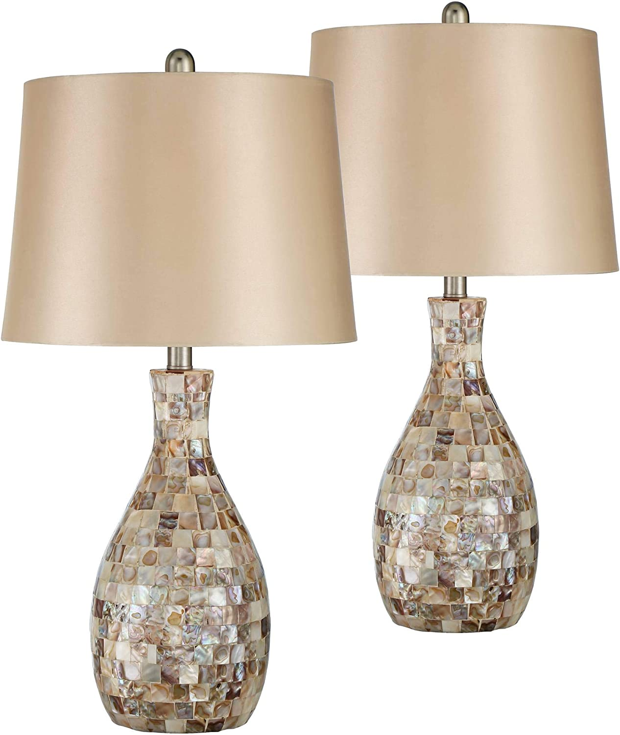 Annie Coastal Table Lamps Set of 2 Mosaic Tile Gold Fabric Tapered Drum Shade for Living Room Bedroom Bedside Nightstand Office Family - Regency Hill