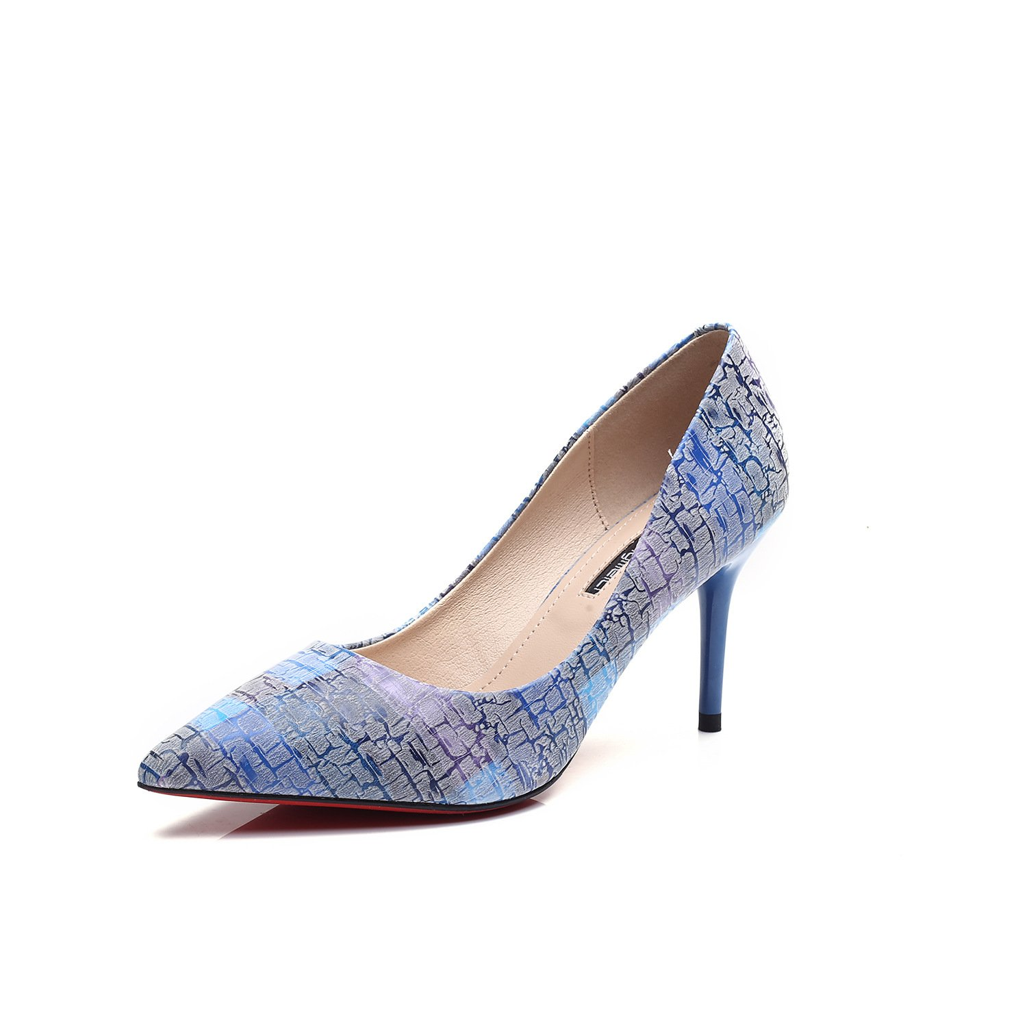 Fine with high heels pointed shoes in the sub-segment and the high-heel shoes stylish, Blue 35