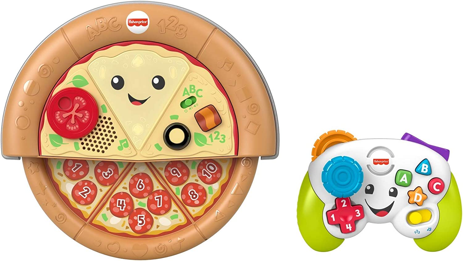 Fisher-Price Laugh & Learn Game and Pizza Party Gift Set of 2 toys with lights, music and learning content for baby and toddlers ages 6-36 months [Amazon Exclusive], GPN51