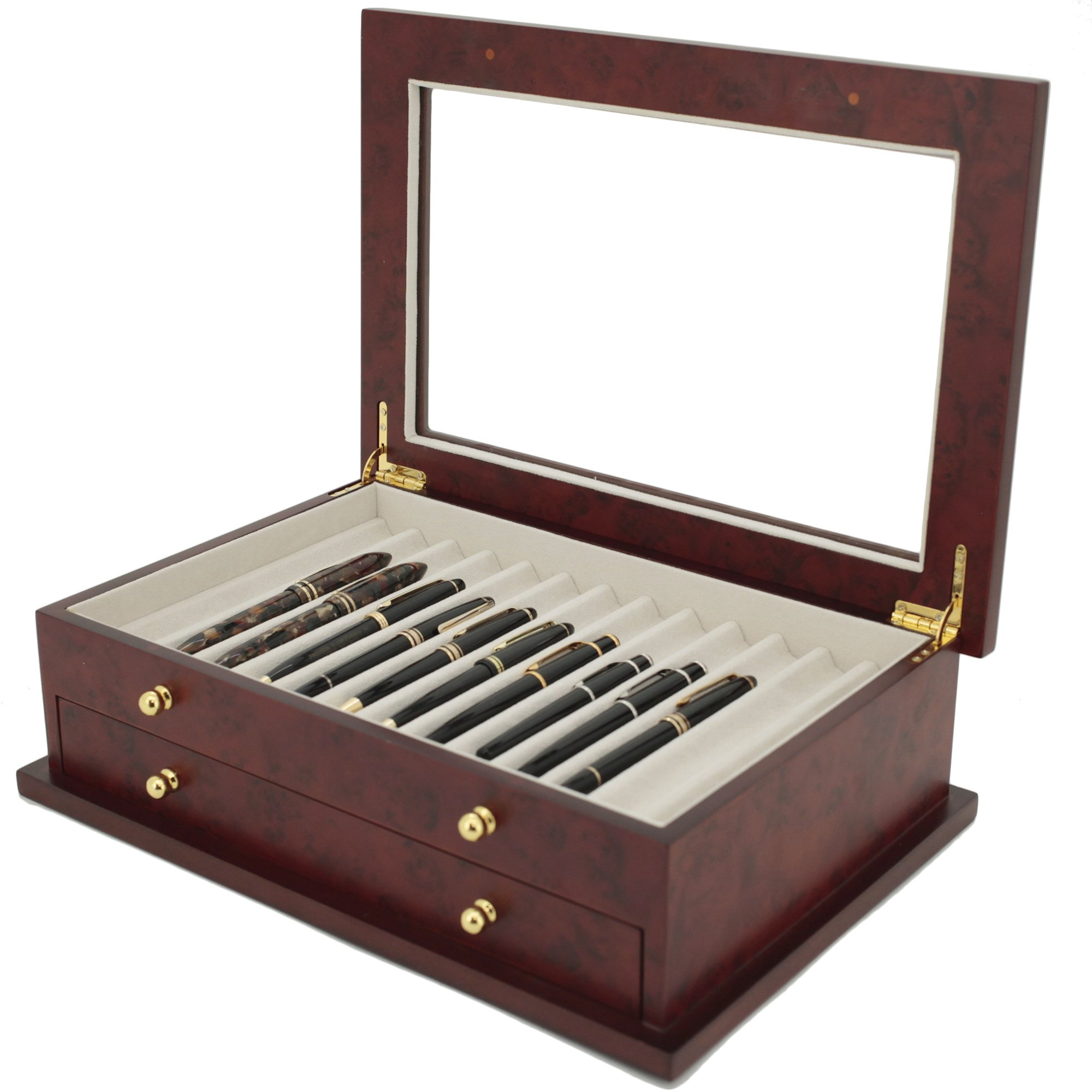 Pen Box 26 Fountain Pens Writing Instruments Wood Constructed Glass Display Case (Burlwood) by Tech Swiss (Image #3)