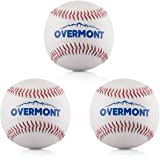 Overmont 3pics de pelota de beisbol sofbal softball de Cuero Sintetico, color blanco