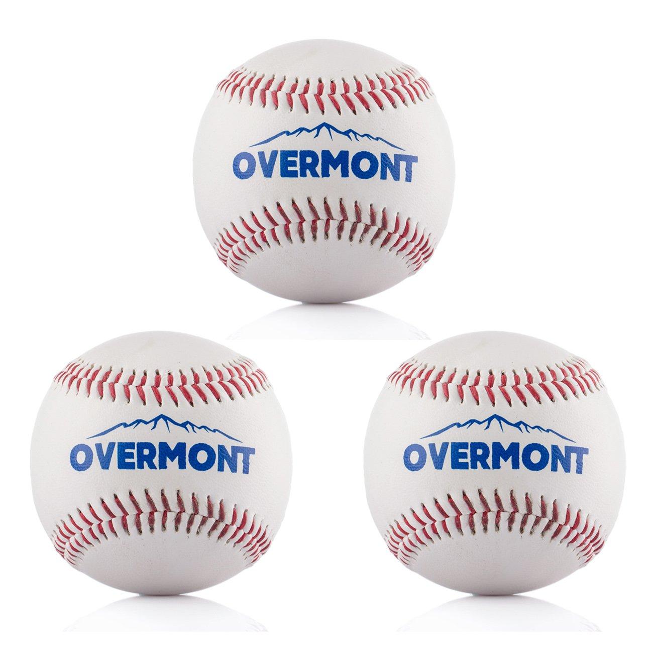 Overmont pelota de beisbol sofbal softball de Cuero Sintetico, color blanco OM-Baseball