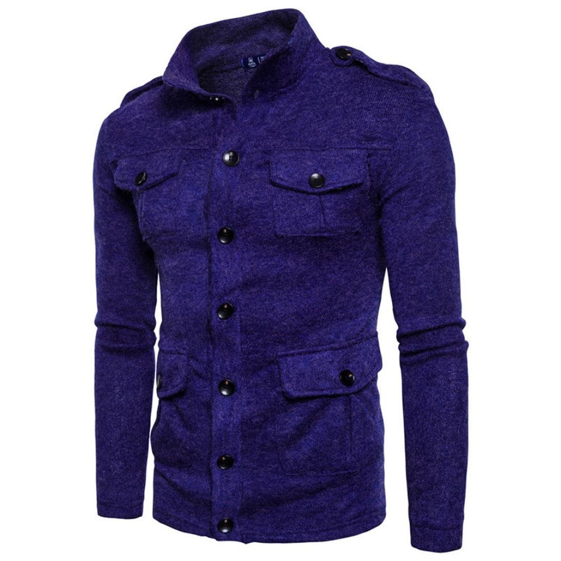 GREFER Clearance New Men's Fashion Slim Designed Top Cardigan Coat Jacket (XS, Blue) by GREFER