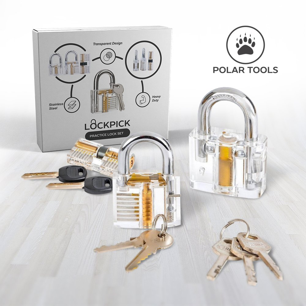 Lock Set | Practice Lock, Padlock, Cylinder Door Lock | 15 Pieces Tools, 3 Different Transparent Locks | Tools Tumbler Keyed Locks | for Gifts Beginners Pros Kids